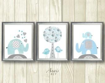 Blue and Grey nursery printable wall art Elephant nursery Bird Baby Boy Room Decor Digital art Kids Wall Art Tree Heart