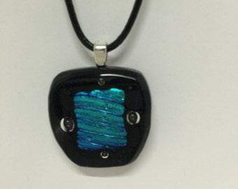 Blue on Black Glass Pendant
