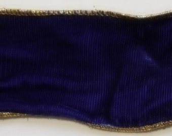 """2 Yards of 2-1/8"""" Dark Blue Wire Edge Velvet Ribbon with Golden Piping"""