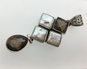 Smoky Quartz Freshwater Pearl Sterling Silver Pendant
