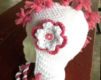 Mohawk Crochet Hat - Beanie with Earflaps, Mohawk, and Twisted Braids - Newborn / Toddler / Child / Teen / Adult - Made to Order