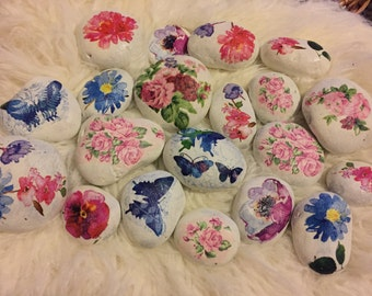 20x Paperweight-Pebble Art - Painted Pebble- Painted Stone with Decoupage Flowers Butterfly Combined