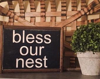 9x12 Bless Our Nest Sign, farmhouse, modern farmhouse, vintage, rustic, wood sign