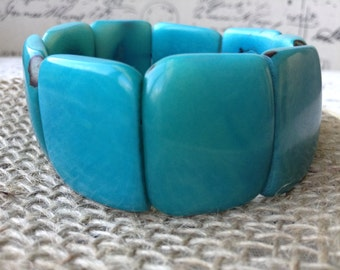 Turquoise bracelet with organic Tagua Nut, Chunky Bracelet, Statement Bracelet, Wide Bracelet, Beaded Bracelet, Christmas Gift, Gift for her