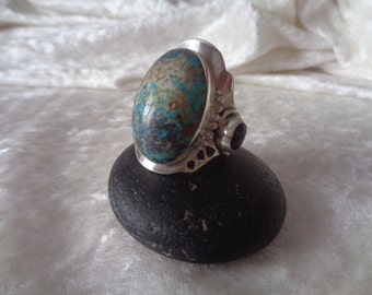 Iraq turquoise ring with amber Mexican