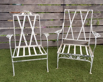 Two Vintage Salterini Style Iron Patio Chairs