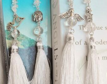 Clear Quartz White Tassel Bookmarks, Angel, Dove, Buddha, Stars.