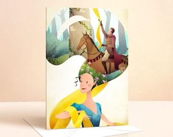 Rapunzel Card   Birthday Card   Girls Birthday Card   Princess Card   Greeting Card   Fairy Tale   Childrens Art   Nursery Art   Art Card