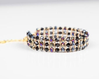 Christmas Black and Gold Bicone Beaded Bracelet, Beadwork Bracelet,Gold Woven Bracelet,Fire Polish Black Bracelet,Unique Black Bracelet, UK