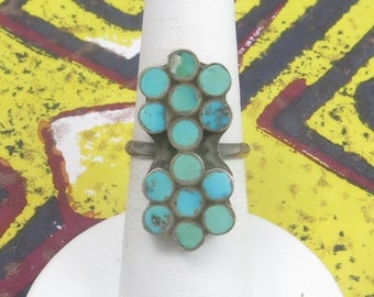 Southwestern Sterling Silver Turquoise Inlay Double Flower Ring Size 6.25