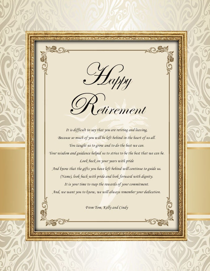 retirement poem colleague boss coworker good luck friend personalized retirement poetry gift