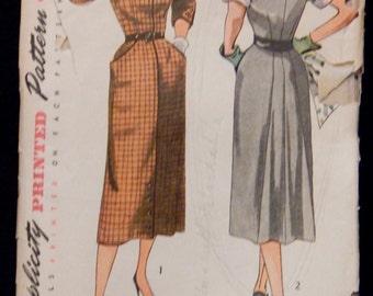 Vintage Dress Pattern Simplicity 3487 Retro 1950's
