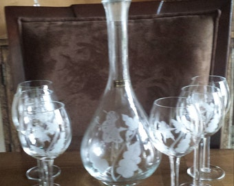 Toscany decanter and 6 wine glasses Set