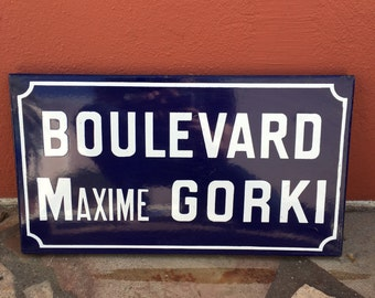 Old French Street Enameled Sign Plaque - vintage gorki 3