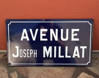 Old French Street Enameled Sign Plaque - vintage millat 4