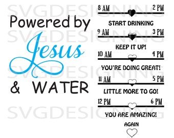 Powered by Jesus Water tracker SVG PNG DXf file
