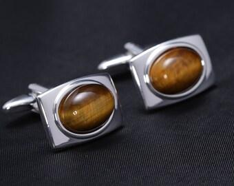 Silver Plated Cufflinks with Tiger eye gemstones