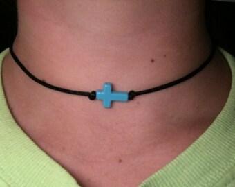 turquoise cross choker