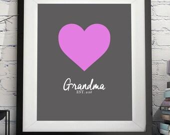 Grandma Art Print, Grandma Gift, Gifts for Grandma, Grandma to Be, New Grandma, Personalized Grandmother Gift, Pregnancy Reveal Grandparents