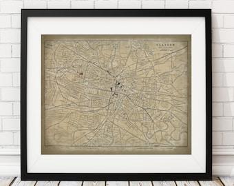 Glasgow Map Print, Vintage Map Art, Antique Map, Scotland Map, Scottish Wall Art, Scotland Art, History Gift, Cartography, Glasgow Poster
