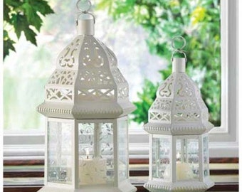 White Moroccan Candle Lanterns