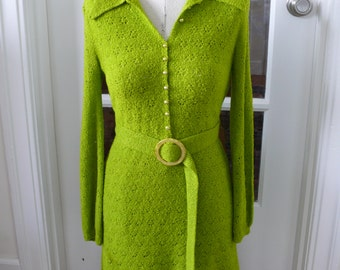 Vintage 1960's Chartreuse Knit dress