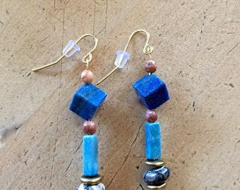 Greco Roman Lapis and Turquoise Earrings