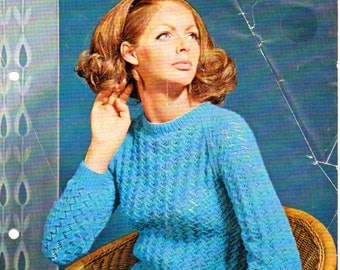 PDF Knitting Pattern by Robin.  1841 (32-40 bust).  Casual Sweater.