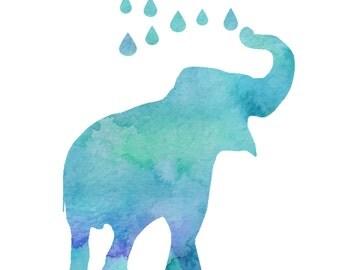 Blue watercolor Elephant printable