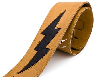 Tan brown leather guitar strap, personalized instrument strap, lightening bolt - the GENERATOR