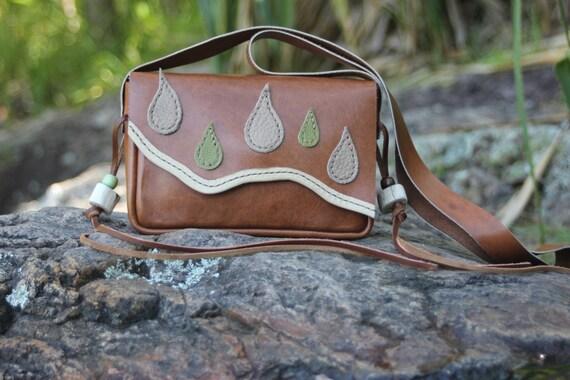 RAINY AFTERNOON leather, crossbody shoulder handbag, hand-stitched, design, artisan, boho, hippie, festival, unique