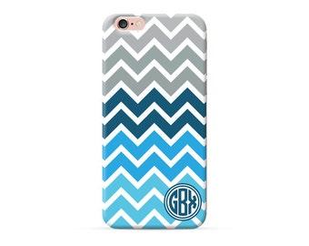 Monogram iPhone 6s plus case Blue chevron pattern, monogrammed case for iPhone 7 iPhone 7 Plus iPhone 6 iPhone 6 plus personalised cover