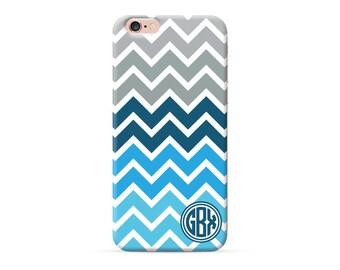 Monogram iPhone X case Blue chevron, monogrammed iPhone 8 case custom iPhone 7 Plus case iPhone 6s case personalised iphone cover