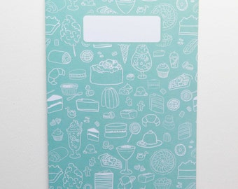 Patterned A5 Notebooks - Lined Paper - Mint Green - Cake Sugary Things - Sweet Tooth - Ideas Book - Back to School