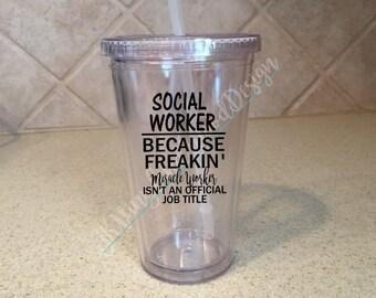 Social Worker Because Freakin' Miracle Worker Title Tumbler, Social Work, Social Worker Tumbler, Social Worker Gift, Social Worker