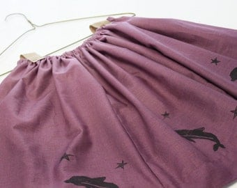 Handmade, Cotton, Hand-print Design, Dolphin Print, One of a kind Skirt