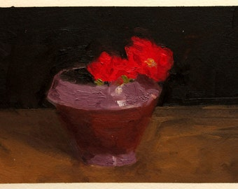 Ceramic with Red Flower Oil Painting, Small 6x9 Original Art on Arches Oil Paper