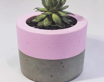 Small Pink Concrete Planter, Concrete Pot, Cement Planter, Cement Pot