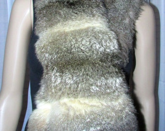 Very beautiful long scarf scarf with reversible fur natural Possum and wool/reversible Possum and wool scarf