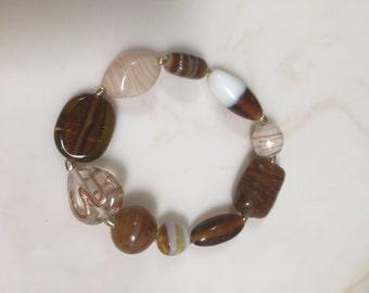 Gold & browns stretchy bracelet