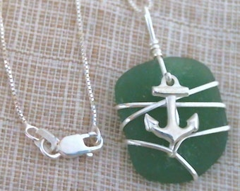 Green Sea Glass and Sterling Silver Anchor Pendant 082805