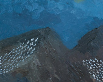"""ORIGINAL Painting,  night, Landscape, Oil, Textured, mountain goats, """"Migration Of Mountain Goats"""