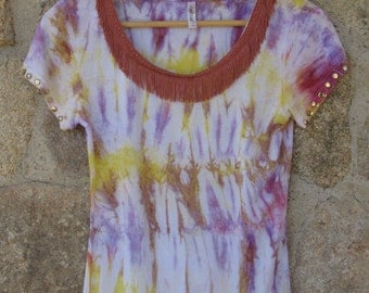 Boho Indie Chic Fashion Tie Dye Shibori Lady's Top T-shirt. SIZE M/L