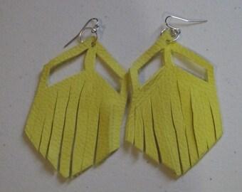Handmade Yellow Leather Fringe Earrings