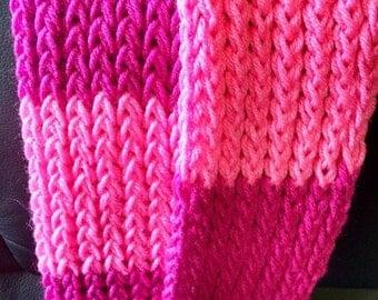 Handmade Scarf Pink & Raspberry