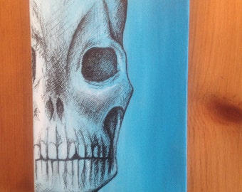 Original arylic/india ink. Skull blue
