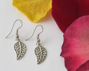Antique Silver Look Paisley Leaf Charm Earrings. Small and Simple Earrings. Antique Silver Earrings. Silver Earrings. Costume Jewellery.