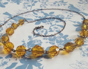 Orange Czech Glass 1930s Antique Necklace