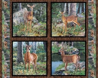 Wild Wings Cradle Rock Deer Fabric Pillow Panel
