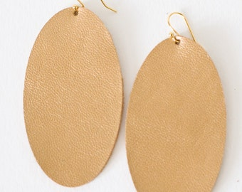 Leather Earrings, Oval, Gold, Large, Statement Earrings